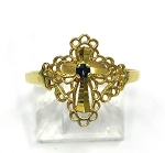 Yellow Gold Sapphire Cross Ring