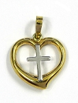 White and Yellow Gold Heart With Cross Pendant