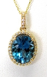 Ladies Blue Topaz and Diamond Pendant