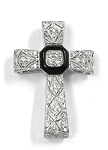 White Gold Diamond And Gemstone Cross Pendant