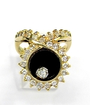 Ladies Black Onyx and Diamond Ring