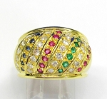 Ladies Ruby, Emerald,Sapphire and Diamond Ring