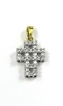 White and Yellow Gold Diamond Cross Pendant