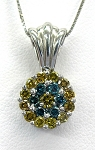 Ladies Blue and Yellow Diamond Pendant