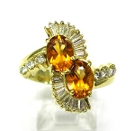 Ladies Diamond and Citrine Ring