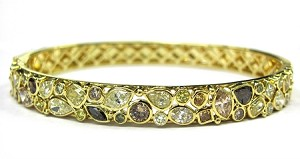Ladies Gold Multi Colored Diamond Bangle