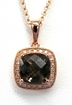 Ladies Smokey Quarts and Diamond Pendant