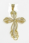 Yellow and White Gold Cross Pendant