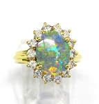 Ladies Opal and Diamond Ring