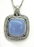 Ladies Chalcedony and Diamond Pendant
